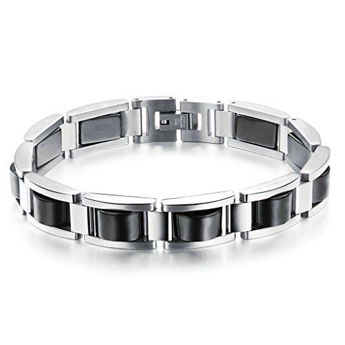 Adisaer Armreifen Indisch Silber Armband Männer Uhr Armkette Handgelenk Poliert Silber Schwarz Hochzeit 58Gr 22Cm Geschenk Für Freund