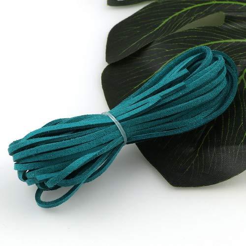 Kunstleer kant platte draad touw armband 5-meter kleur parel ketting 20,5 meter foto's