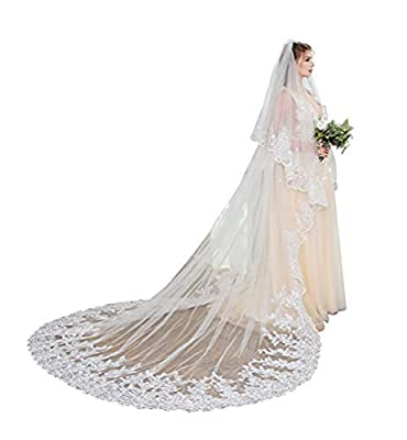 Fenghuavip Stylish Long Train White Bridal Cathedral Wedding Veil