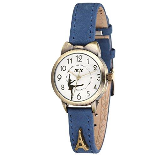 可愛い バレエダンサー レディース 腕時計,fq234 ブルー 革 ベルト 女子 学生 キッズ ウォッチ