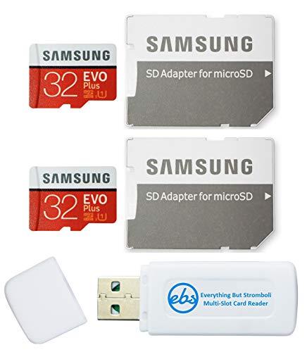 Cartão Samsung de 32 GB Evo Plus MicroSD (2 pacotes EVO+) cartão de memória SDHC Classe 10 com adaptador (MB-MC32G) conjunto com (1) leitor de cartão Tudo menos Stromboli Micro e SD