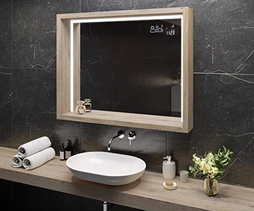 Artforma Espejo de Baño con Iluminación LED 60x80 cm con Estante y Marco - Luz Espejo de Pared con Accesorios - Diferentes tamaños | Roble San Marino