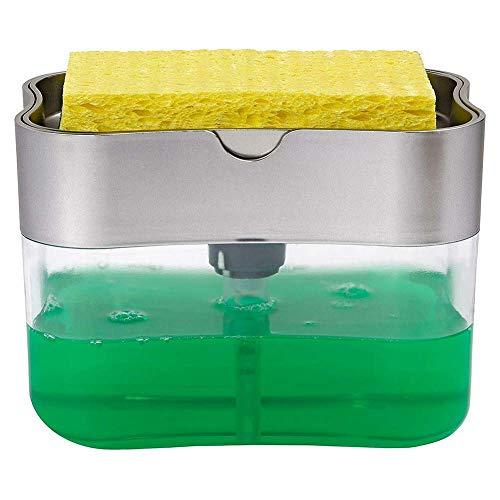 Trinwin Dispenser per Pompa di Sapone 2 in 1 e Supporto per Spugna per Dispenser di Sapone da Cucina Dispenser per lavabo da appoggio (Silver)