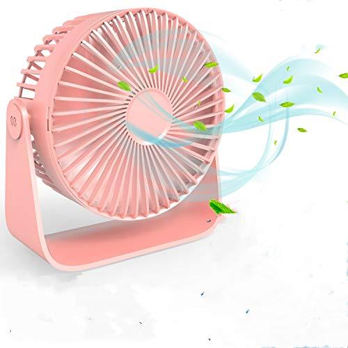 TedGem Mini Ventilador USB, Ventilador de Mesa 360 ° Rotación, Ventilador USB Silencioso Puede Poner Aceites de Aromaterapia, 3 Ajustable Velocidades para el Hogar, Oficina, USB Alimentado (Rosa)