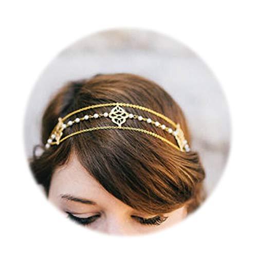 SonMo Stirn Kette Stirnband Stirnband Vergoldet Haarschmuck Kette Stirnband Haarschmuck Haar-Band Bohemian Knoten Gold Kopf-Kette für Frauen