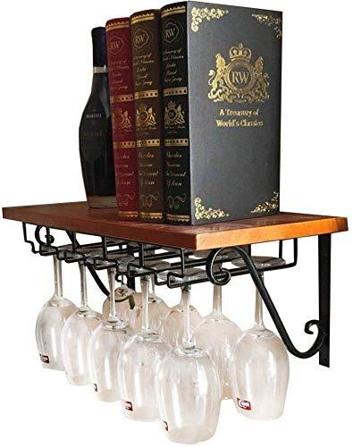 Zjnhl Wijnliefhebbers Bar meubels & Wijnhouder Creatieve Wijnrekken Staand Hout Wandmontage Wijnglas Rack Vintage Champagne Fles Opslag Plank (Maat: 80 * 25cm)