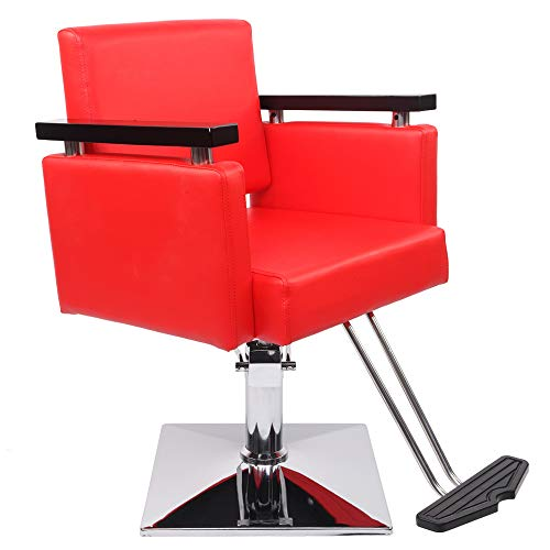 Baywell Silla de peluquería Equipo de belleza de pelo Silla de peluquería hidráulica con superficie de cuero de PVC y esponja de alta densidad moderno rojo estilo salón silla de corte de pelo