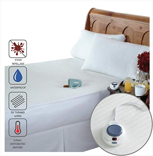 Perfect Fit SoftHeat Smart Heated Electric Waterproof and Stain Repellant Mattress Pad with Safe & Warm Low Voltage Technology (Twin)