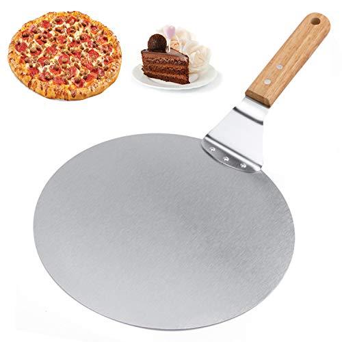 Pizzaschieber Pizzaschaufel,Professioneller Pizzaheber aus Edelstahl mit Ergonomischem Griff und Scheibe mit 25,5 CM Durchmesser für Backofen,Pizza und Kuchen