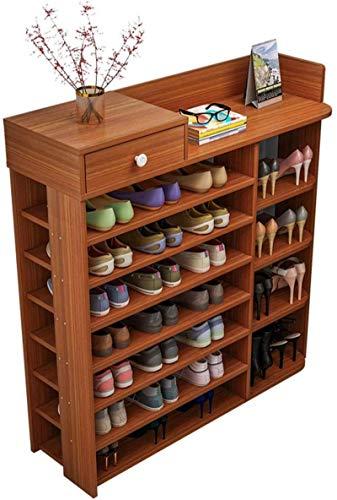 Ranura de calzado ajustable Organizador de zapatos Rack de zapatos 7-niveles Zapato de madera Rack Organizador de zapatos grande con cajones Estante de almacenamiento de zapatos Estante de pie libre p