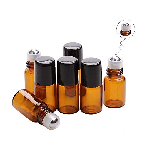 50 Pack Botella de Rodillo de Vidrio Ámbar 2ml Roll on Frascos de vidrio,Mini Botellas Vidrio Aceite Marrón para Aceites Esenciales,Muestras Perfume, Aromaterapia
