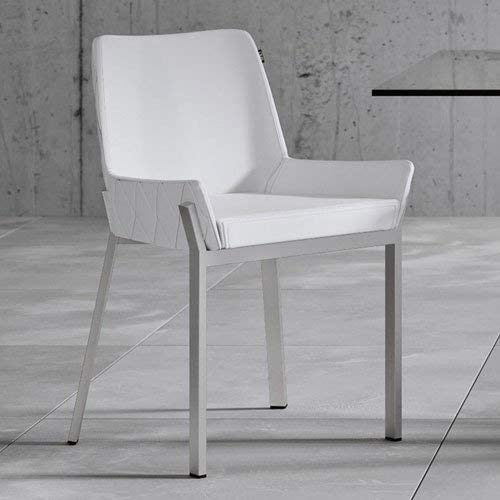 Zuri Furniture Sydney White Leatherette Dining Chair with Polished Stainless Steel Legs