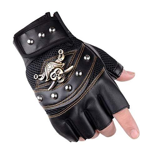 UTOWO fingerlose Herren-Handschuhe mit Nieten im Vintage-Stil, Steampunk/Motorrad – Captain Halbfingerlose Fäustlinge Rocker Kostüm-Zubehör (schwarz, M)