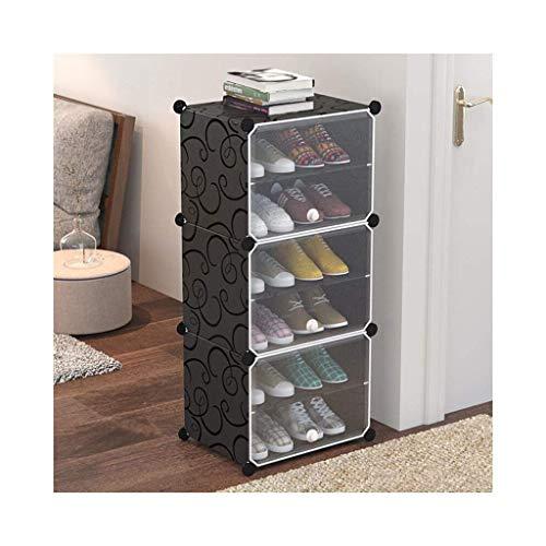 Zapatero, Gabinete de zapatos a prueba de polvo Estante de zapatos DIY de 6 cubo, unidad de cajón de almacenamiento Multi de uso modular Mueble de plástico con puertas, patrón rizado blanco y negro