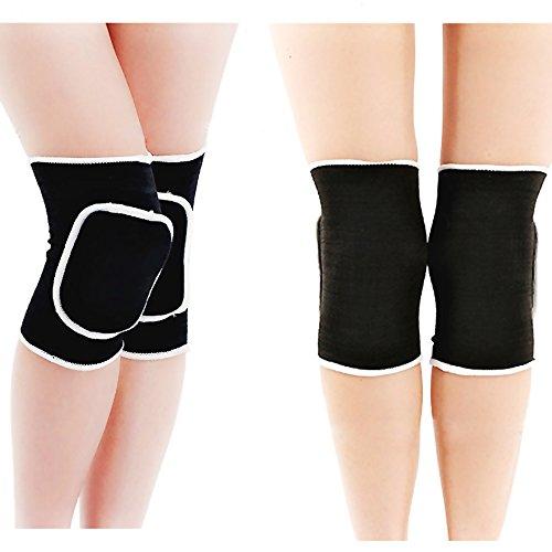 Fletion Damen Knieschützer Kniebandage Knie Sleeves Knee Stretch Brace Pad Wrap Band für  Volleyball,Tanzen etc.,Schwarz,
