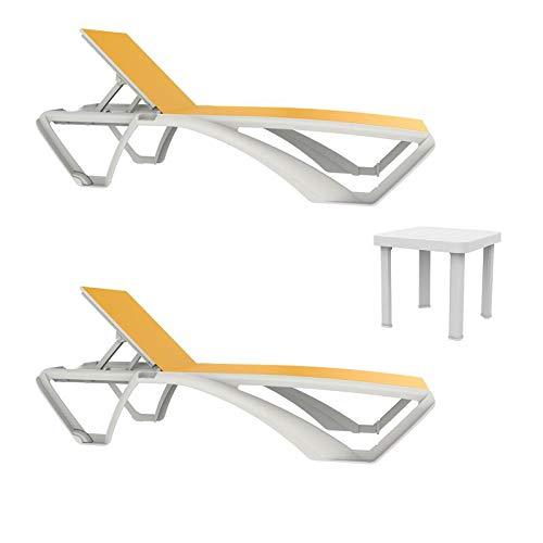 resol set de 2 tumbonas jardín exterior Marina estructura blanca, textilene amarillo y 1 mesa auxiliar Andorra blanca