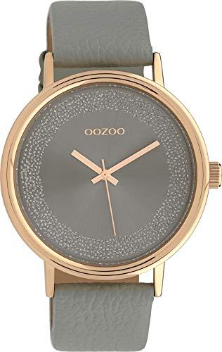 Oozoo Damenuhr mit Glitzer Zifferblatt und Lederband 42 MM Rose/Silbergrau/Grau C10096