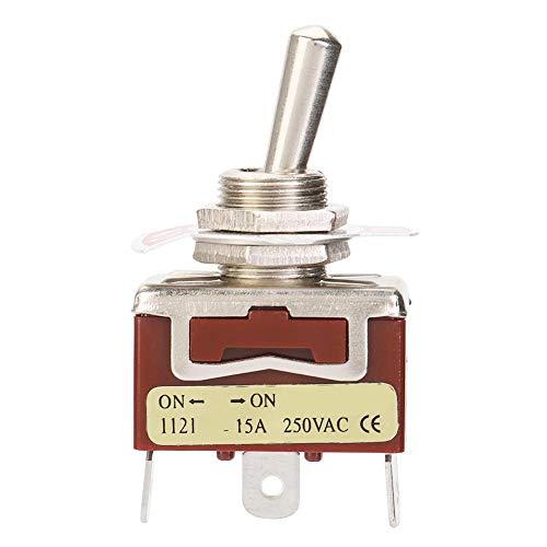 Interruptor de palanca, 5 piezas ON-ON SPDT Interruptor de palanca 12mm 3 pines 2 posiciones 15A 250V Adecuado para control industrial de electrodomésticos para automóviles