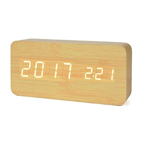 iitrust Horloge en Bois, LED Réveil Digital en Bois avec Température/Calendrier Mode Vocal Trois Alarmes Bamboo