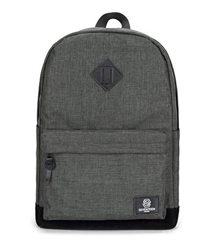 SEVENTEEN LONDON – Moderner 'Westminster' Rucksack in Khaki mit Einer schwarzen Basis aus Fauxwildleder und Einer versteckten RFID Tasche im Schultasche-Stil – perfekt für 15.6-Zoll-Laptops