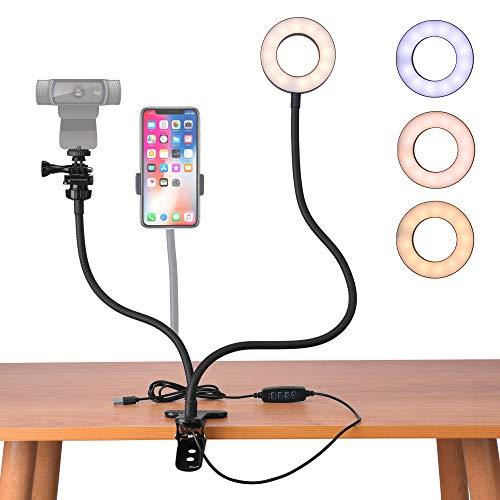 Webcam Ring Light Stand for Live Stream, uunumi 360° Rotating Flexible Gooseneck Selfie Ring Light with Webcam Mount and Phone Holder for Logitech Brio 4K, C930e,C930, C925e, C922, C922x,C615