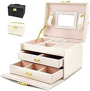 Portagioie Scatole per Gioielli Porta Gioielli Beauty Case Salvaspazio Scatola Custodia Box Scatola con Specchio Scatola A...