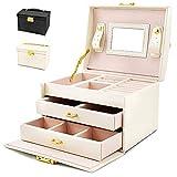Caja Joyero con Espejo Caja para Joyas joyero Caja de Joyas Organizador de Joyas, Caja de Relojes Caja para Relojes (Blanco)