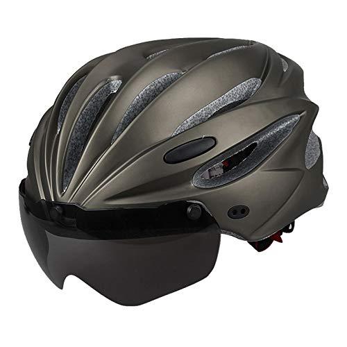 DYB Gorra anticolisión Cascos de Ciclismo - Bicicletas de Carretera de montaña con Gafas de Ciclismo Integrado Hombres y Mujeres Sombreros de Seguridad Ligero y Transpirable (Color : 02)