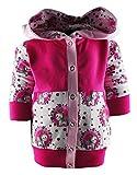 KLEINER FRATZ Baby/Kinder Kaputzen Jacke EINHORNDESIGN mit Bauchtasche (Farbe Einhorn Weiss-rosa/pink) (Größe 98/104)