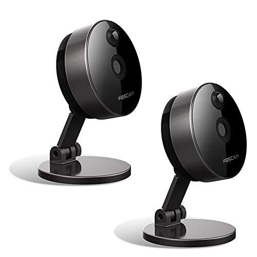 Foscam C1- 2 cámaras IP inalámbricas con ranura microSD, 1 megapíxel, smart, color negro