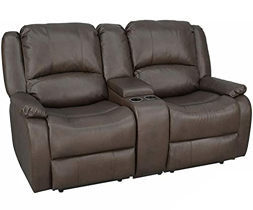 """RecPro Charles Collection   67"""" Double Recliner RV Sofa & Console   RV Zero Wall Loveseat   Wall Hugger Recliner   RV Theater Seating   RV Furniture   RV Sofa   RV Sofa Bed   RV Couch   Chestnut"""