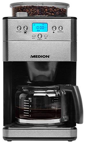 MEDION Kaffeemaschine mit Mahlwerk, 1,25 L, 1000 Watt, 9 Mahlstufen, programmbierbarer Timer, Permanentfilter, MD16893, silber