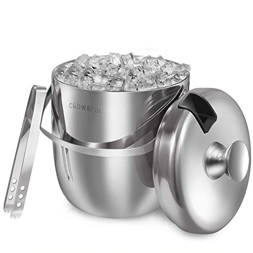 Crownful 3 Quarts 304 Stainless Steel Ice Bucket, Double Wall with Lid and Ice Tongs, Durable Ice Bucket, Great for Party and Picnic