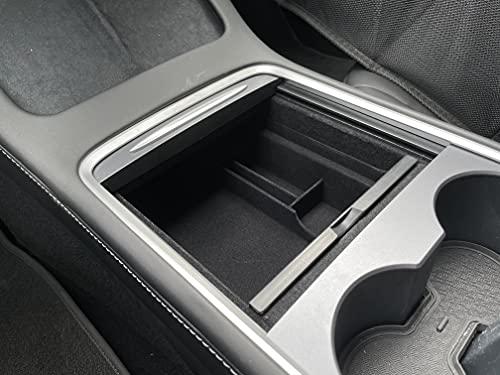 OzniumX Center Console Organizer Storage Box for 2021 Tesla Model 3, Black, Custom Upgrade Interior Accessory with Coin and Sunglass Holder, Armrest Box Secondary Storage