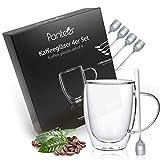 Panteer ® - Bicchieri da caffè a doppia parete, 4 x 350 ml, in vetro borosilicato, con 4 cucchiai lunghi, bicchieri da latte macchiato, bicchieri da tè, bicchieri termici a doppia parete (con manico)