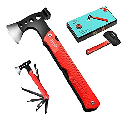 RoverTac Multitool Camping Tool Survival Gear Upgreated 14 in 1 Stainless Steel Sturdy Multi Tool with Axe Hammer Knife Saw Screwdrivers Bottle Opener and Sheath for Outdoor Hiking Camping