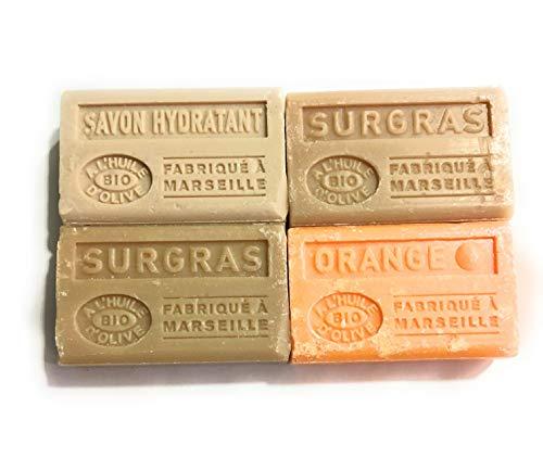 Lot de 4 savons BIO, à l'huile d'olive 4x125g - hydratant x1 surgras x2 orangex1