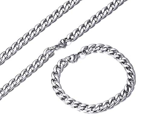 AllRing 1 x Men's Classic Choker Curb Chain Necklace for Men Women Titanium Steel Necklace Link Chain Hip Hop Biker Rocker Chain Width 6/7/8/10 mm Length 50-70 cm Length: 70 cm