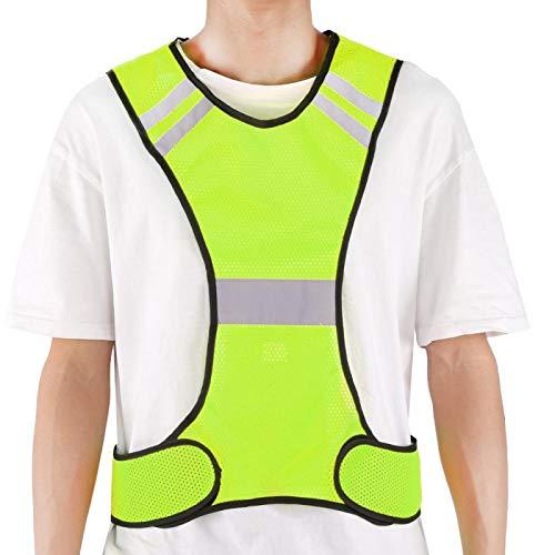 Chaleco reflectante Reflexión nocturna Práctico chaleco reflectante de seguridad, con juego de lámparas LED externas, para carrera nocturna, ciclismo(Fluorescent yellow)