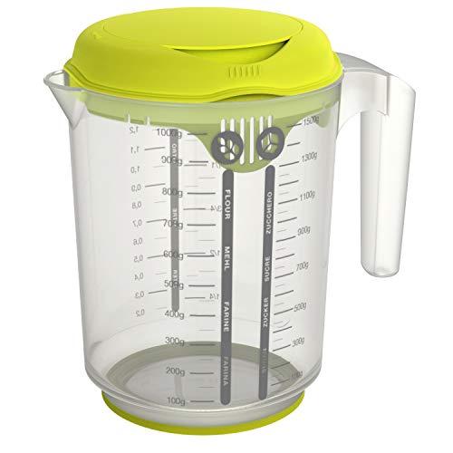 Rotho Fresh Mess- und Mixbecher 1.5l mit Antirutschring, Deckel, Spritzschutz und Skala, Kunststoff (SAN) BPA-frei, transparent, 1,5l (18,5 x 13,3 x 19,2 cm)
