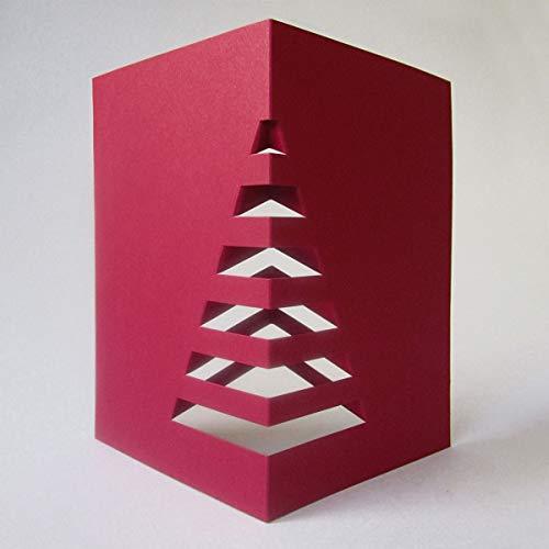 10 dunkelrote Recycling-Weihnachtskarten zum Basteln eines Weihnachtsbaums für den Schreibtisch, Klappkarten mit vorgestanzten Stegen, inkl. dunkelrotem Recycling-Umschlag und transparentem Einlegeblatt