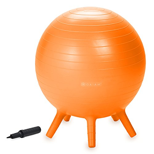 Gaiam Kids Stay-N-Play Children's Balance Ball, Flexible School Chair Active Classroom Desk Alternative Seating, Built-In Stay-Put Soft Stability Legs, Includes Air Pump, 52cm, Orange