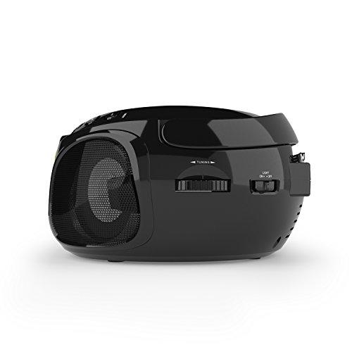 auna Roadie - CD-Radio, Stereoanlage, Boombox, USB, MP3, UKW-Radiotuner, Bluetooth 2.1, LED-Beleuchtung, 2 x 1,5 W RMS-Leistung, Netz- und Batterie-Betrieb, schwarz