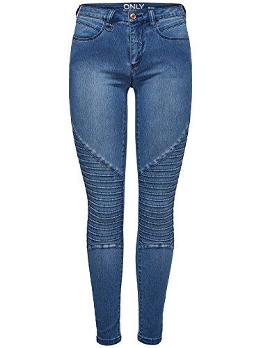 ONLY Damen Skinny Skinny Jeans onlROYAL REG SKINNY BIKER JEANS BJ11503, Blau (Medium Blue Denim Medium Blue Denim), 34 /L32 (Herstellergröße: X-Small)
