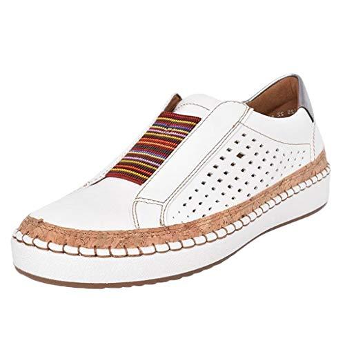 URIBAKY - Zapatillas de running para mujer, planas, informales, con punta redonda y punta redonda, con zapatillas de running y fitness, transpirables, zapatillas de deporte, blanco, 38 EU