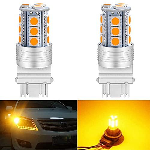 ALOPEE 3157 Ambre/Jaune LED Light- 300lums, 10~12V DC 5050 18-SMD Auto Ampoule de Rechange pour 3056/3156/3057/4114 Base pour Turn Signal Lumière de Frein, Arrière Inverse Lumières 2-Pack