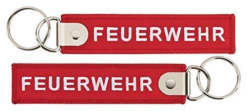 Feuerwehr Schlüsselanhänger rot 120x27mm mit verstärktem Schlüsselring