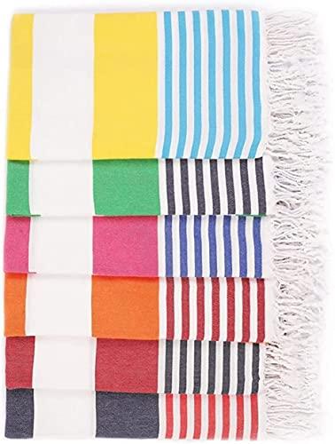 Havluland Sale Set of 6 XXL Turkish Cotton Beach Towel, Oversized ,Super Absorbent,Lightweight, Quick Drying , Compact Multicolor Set 71'X39'