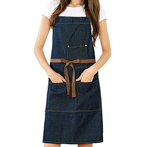 Meychin Blue Adjustable Denim Jean Kitchen apron with 5 Pockets for Women Men Optimized upgrade(Denim)