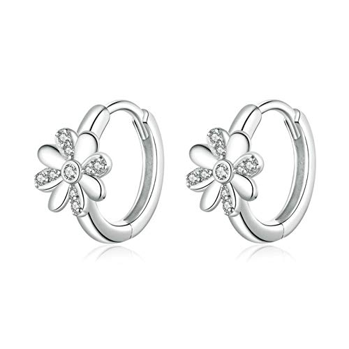 ZYMQ Authentic 925 Sterling Silver Daisy Flower Hoop Earrings for Women Elegant Wedding Engagement Statement Jewelry